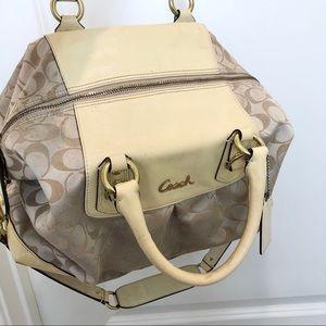 Coach Signature Cream Satchel Bag